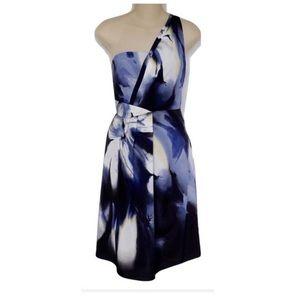 One shoulder floral cocktail dress! Blue!